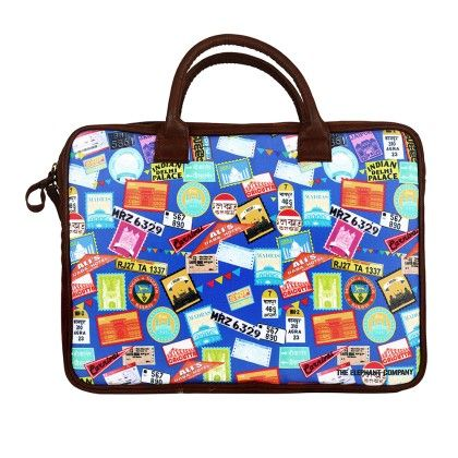 Laptop Bag Blue Indian Journey - The Elephant Company