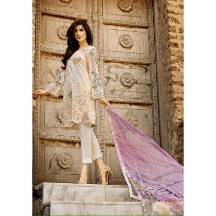 Beautiful Pakistani Style Printed Cotton Dress Material - Beige & Mauve - Afreen