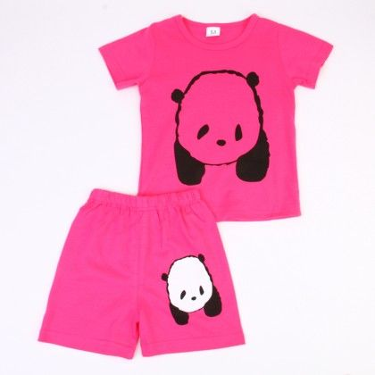 Cute Bear Print Top & Shorts Set - Pink - Ton