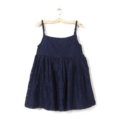 Girl's Navy Net Printed Fit & Flare Dress - Budding Bees