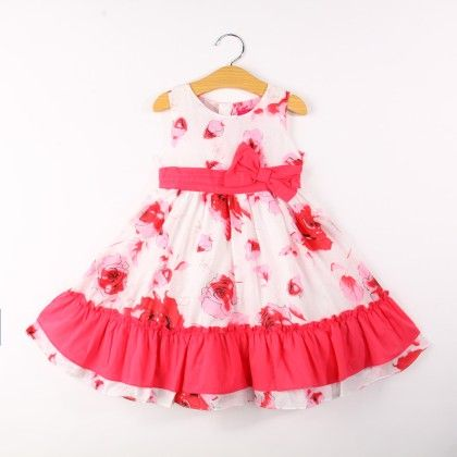 Cute Floral Print Dress With Bow - Pink - Bonny