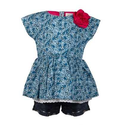 Ditsy Print Top With Lace Peepout With Lace Shorts -blue - Soul Fairy