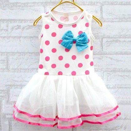 Soft White With Pink Polka Dot - Peach Giirl