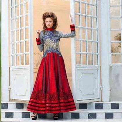 Semi-stitched Grey With Shades Of Red Dress Material - Balloono