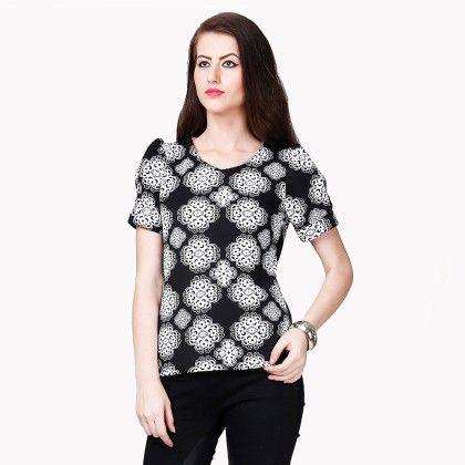 White & Black Printed Top - Dressvilla