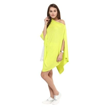 Knitted Poncho Cape Wrap Top Neon Yellow - Pluchi