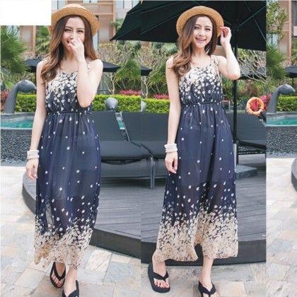 Floral Print Summer Long Dress - Dell's World - 302753