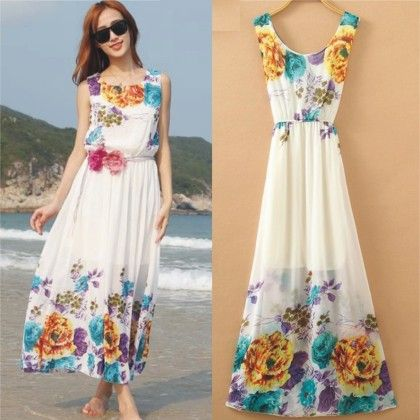 Floral White Beach Dress - Angel's Couture