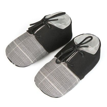 Lace And Small Checks Unisex Shoes - Black - Jute Baby
