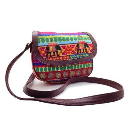 Leather Sling Bag Temple Elephant - The Elephant Company