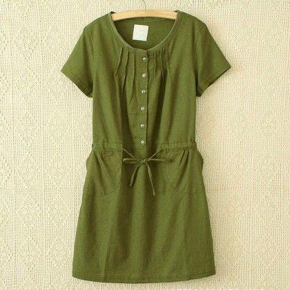 Green Loose Fit Short Dress - STUPA FASHION