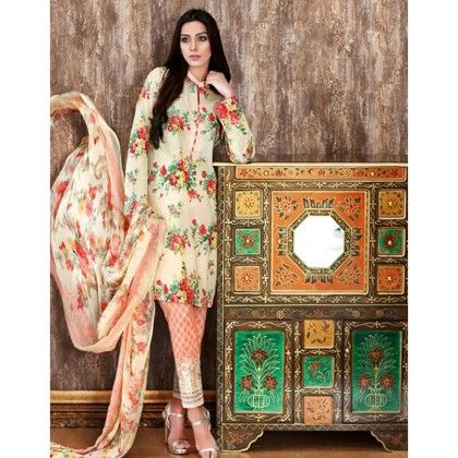 Beautiful Pakistani Style Floral Printed Cotton Dress Material - Peach - Afreen