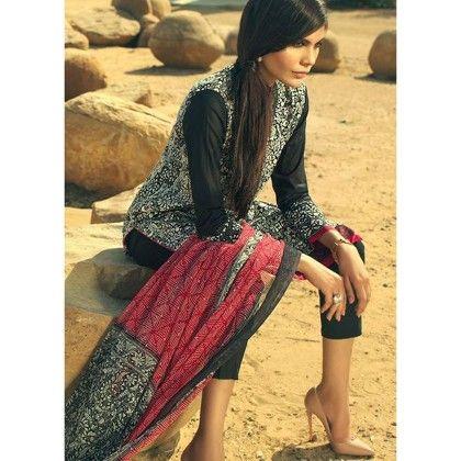 Sana Safinaz Black Work Semistitched Suit - Mauve Collection