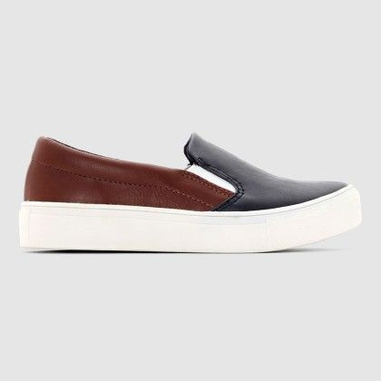 Camel And Blue Light Rubber-soled Canvas Shoes - La Redoute