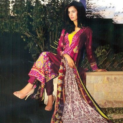 Imaan Pink & Yellow Semistitched Suit - Mauve Collection