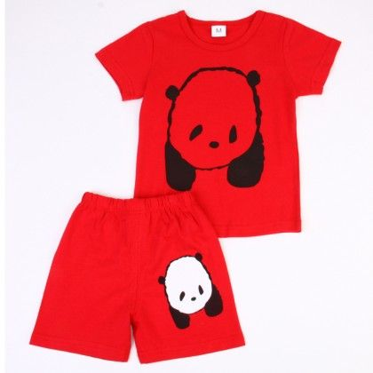 Cute Bear Print Top & Shorts Set - Dark Red - Ton