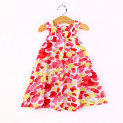 Trendy Abstract Print Halter Neck Dress- Red - Child NY