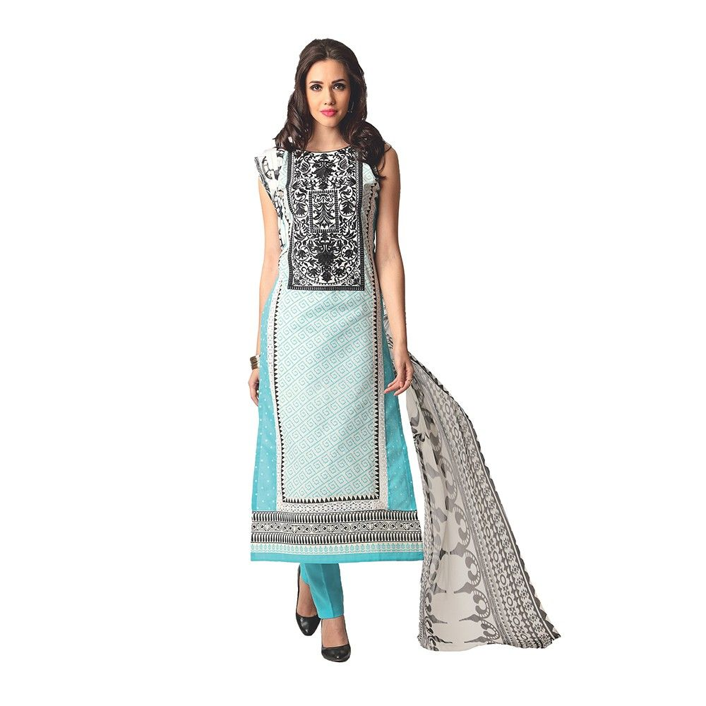 Exclusive Dress Material With All Over Front And Back Multi Design Print With Printed Dupatta-blue - Varanga