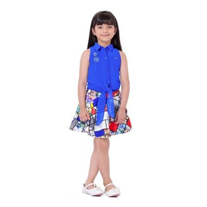 Royal Blue Coloured Top With Mutli Coloured Knee Length Skirt - Tiny Baby