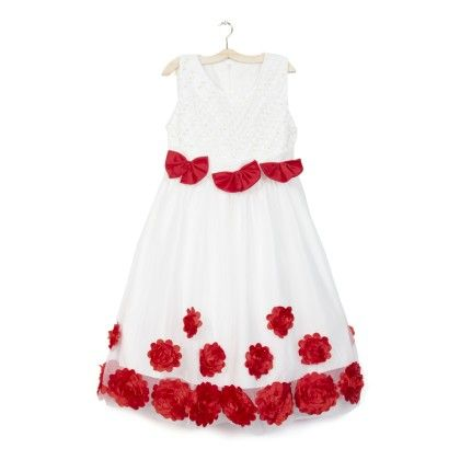 White Long Dress With Bow & Ribbon Florets - Party Princess