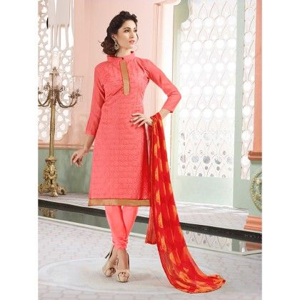 Pink Semistitched Embroidery Suit - Fabfella