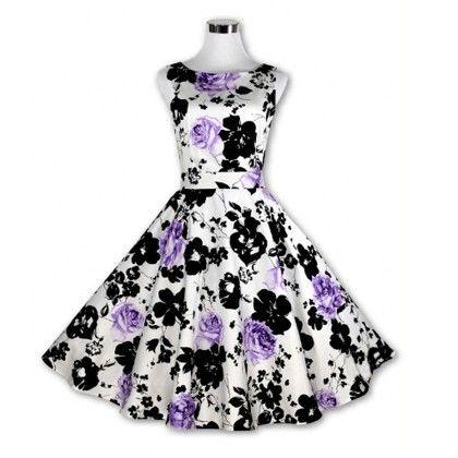 Purple Floral Flared Dress - STUPA FASHION
