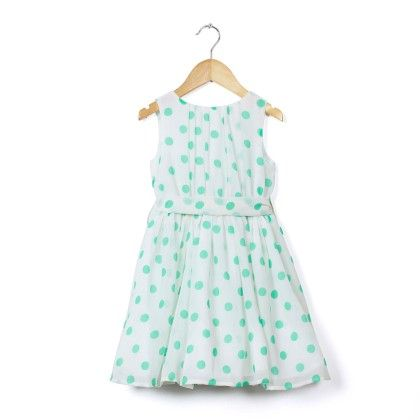 Green Polka Dot Dress With Belt - Cranberry Club