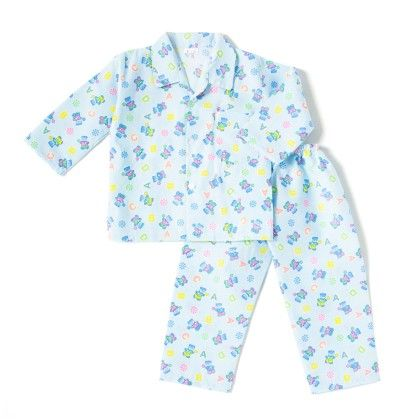Abcd Print Night Suit - Blue - BownBee
