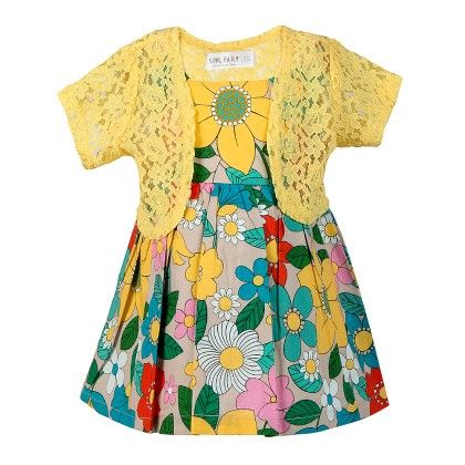 Aop Strappy Tunic Top  With Beads With  Shrug-yellow - Soul Fairy
