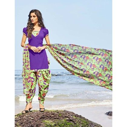 Purple With Multicolor Salwar And Dupatta Dress Material - Balloono