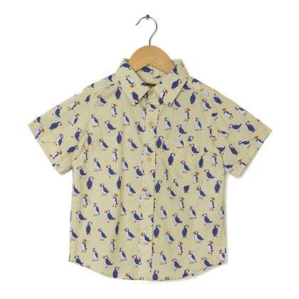 Bird Print Shirt - Yellow - Hugs & Tugs