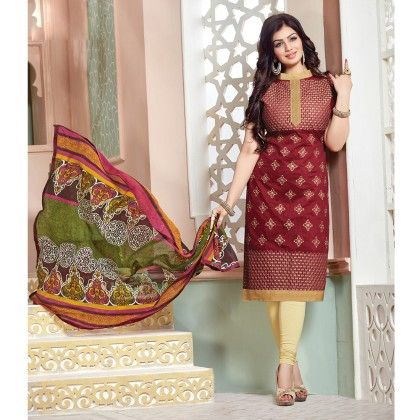 Maroon Semistitched Embroidery Dress Material - Fabfella