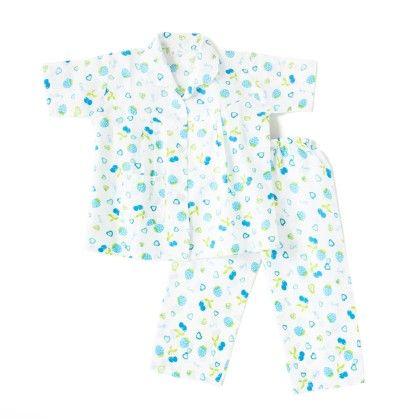 Cherry Print Night Suit - White & Blue - BownBee