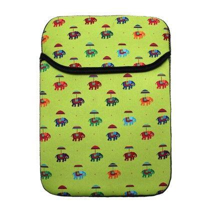 Tablet Sleeve 8inch Green Flying Elephants - The Elephant Company