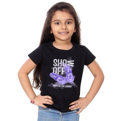Girl's Show Off Print Black T-shirt - BonOrganik