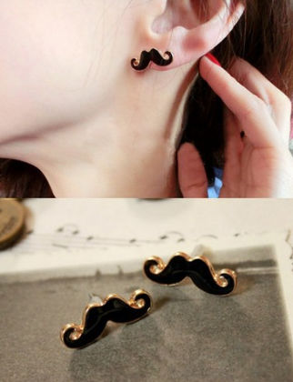 Black Moustache Stud Earring - The Purple Present