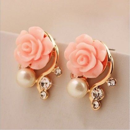 Pink Rose Stud Earring - The Purple Present