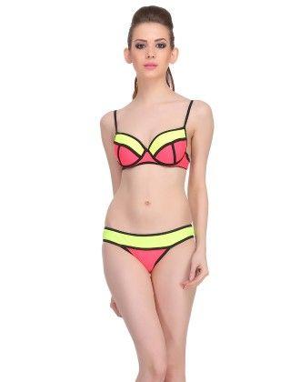 Clovia 2 Piece Polyamide Swimsuit Of Balconette Bra & Bikini In Red