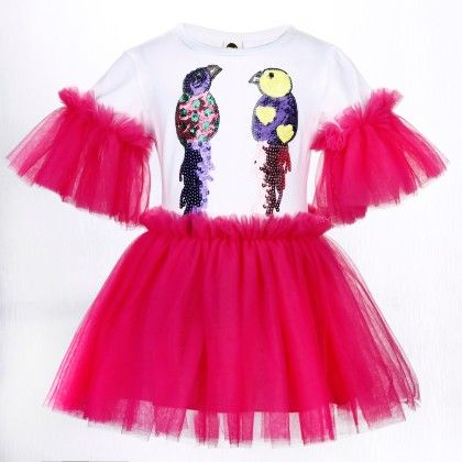 Cute White And Rose Red Bird Print Frilled Dress - Isabella By Princess