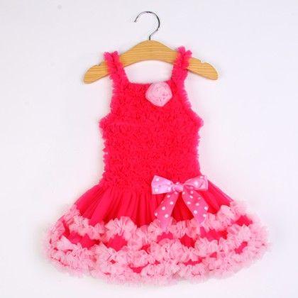 Dark Pink Ruffled Tutu Sling Dress - Isabella By Princess