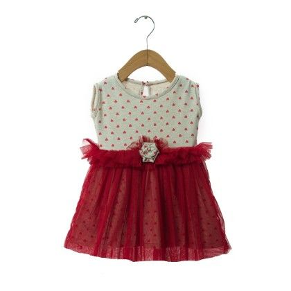 Red Hearts With Red Net Dress - TINY TODDLER