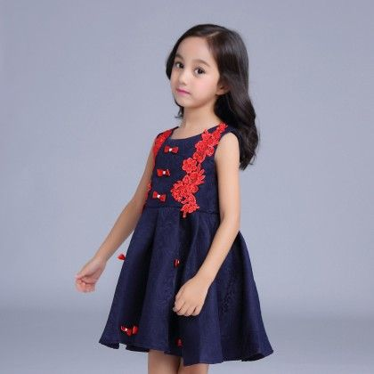 Blue Dress With Red Lace - Mauve Collection