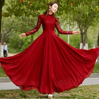 Wine Red Colored Party Maxi Dress - Red - STUPA FASHION