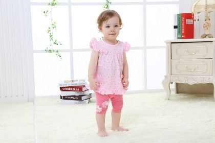 Pink Cute Polka Dot Ruffle Top And Bottoms Set - Mimiwinga