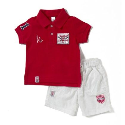 Nautical Sailing Printed Tee & Short Sets- Red - TOFFYHOUSE