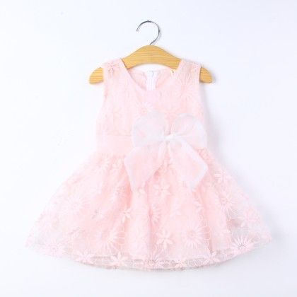 Pink Floral Work Dress With Bow - Best Baby