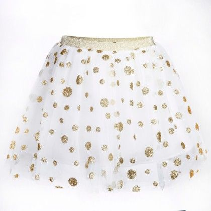 Gold Polka Dots Print White Tutu Skirt - Isabella By Princess