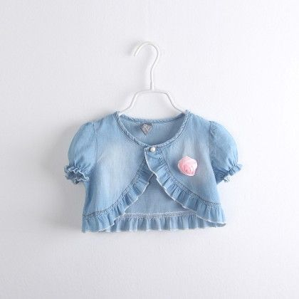 Stylish Denim Ruffle Shrug - Blue - Ava