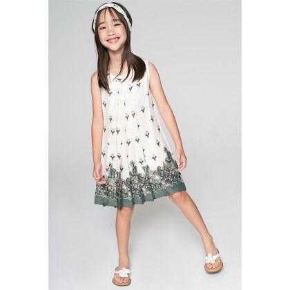 White & Gray Sleeveless A-line Dress - Toddler & Girls - Yo Baby