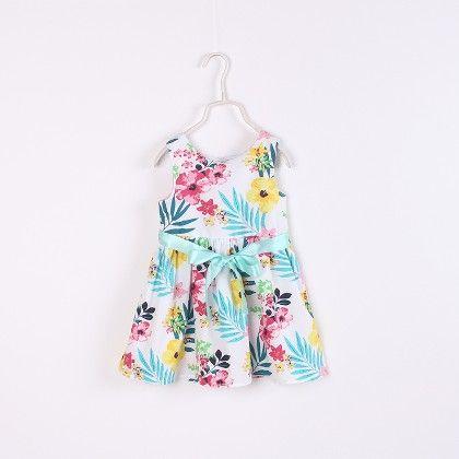 Cute Floral Print Sleeveless Dress - Multi - NEAT